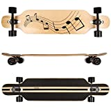 FunTomia Longboard Skateboard Drop Through Cruiser Komplettboard mit Mach1 ABEC-11 High Speed Kugellager T-Tool mit und ohne LED Rollen (Modell Freerider Ahornholz - Farbe Musik)