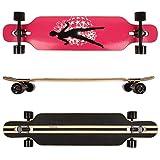 FunTomia Longboard Skateboard Drop Through Cruiser Komplettboard mit Mach1 ABEC-11 High Speed Kugellager T-Tool mit und ohne LED Rollen (Modell Freerider Ahornholz - Farbe Dancing Queen)
