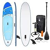 ECD Germany Aufblasbares Stand Up Paddle Board - 308 x 76 x 10 cm - Blau - PVC - bis 120 kg - inkl. Pumpe, Tragetasche und Zubehör - SUP Paddling Board Paddelboard Surfboard - verschiedene Modelle