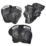 Apollo Schutzausrüstung Set für Kinder, Schoner für Knie Ellenbogen Handgelenk, Protektoren zum Inliner Skateboard BMX Radfahren - schwarz
