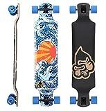 BIKESTAR Premium Canadian Maple Drop Down Flush Cut Pro Longboard Skateboard für Kinder und Erwachsene auch Anfänger ab ca. 10 - 12 Jahre  75mm Freeride/Long Distance Pushing Edition  Japan Wave Design