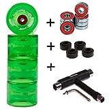 FunTomia 4 Stück (LED) Longboard/Skateboard Rollen (Big Wheels) in 70x51mm 80A inkl. Mach1 Kugellager und Metall Spacer 80A Rollenhärte + T-Tool