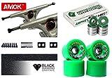 Longboard Achsen Set Advanced   Amok Trucks 7' 180mm   Amphetamine Integra ABEC 7 Kugellager   Bigfoot Wheels   inkl Hardware & Griptape (silver)