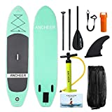 YUEBO 305cm Aufblasbares SUP Stand-up Paddel Board 15cm Dickes, iSUP Paddle Board mit Doppelhub-Pumpe + 3-tlg. verstellbares Paddle + grosse Tragetasche (AS10_Aqua upgrade_305 x 81 x 15cm)