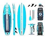 iRocker All-Around Aufblasbares Stand Up Paddle Board 3,35 m lang 81 cm breit 15 cm Dickes SUP Set (Aqua 2019)