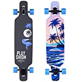 PLAYSHION Longboard 39 Zoll inkl. T-Tool, mit ABEC-11 Kugellagern, Drop-Through Freeride Skateboards Cruiser