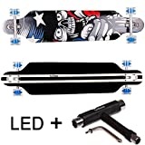 FunTomia Longboard Skateboard Drop Through Cruiser Komplettboard mit Mach1 ABEC-11 High Speed Kugellager T-Tool mit und ohne LED Rollen