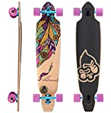 BIKESTAR Canadian Maple Drop Through Flush Cut Pro Longboard Skateboard für Kinder, Erwachsene, Anfänger ab 12-14 Jahre | 75mm Downhill/Freeride/Race Edition | Dream Catcher Design