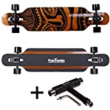 FunTomia Longboard Skateboard Drop Through Cruiser Komplettboard mit Mach1 ABEC-11 High Speed Kugellager T-Tool (Modell Freerider2 Bambus Fiberglas - Farbe Hawaii + T-Tool)