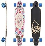 BIKESTAR Premium Canadian Maple Drop Through Flush Cut Pro Longboard Skateboard für Kinder und Erwachsene auch Anfänger ab ca. 12 - 14 Jahre  75mm Downhill/Freeride/Race Edition  Peace And Love Design