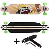 FunTomia Longboard Skateboard Drop Through Cruiser Komplettboard mit Mach1 ABEC-11 High Speed Kugellager T-Tool (Modell Freerider2 - Farbe Beach Car + T-Tool)