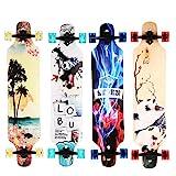 WeSkate Longboard Komplettboard mit ABEC-11 Kugellagern, Drop-Through Street Freeride Skaten Cruiser Boards, 104x24cm