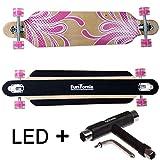 FunTomia Longboard Skateboard Drop Through Cruiser Komplettboard mit Mach1 ABEC-11 High Speed Kugellager T-Tool mit und ohne LED Rollen