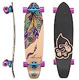 BIKESTAR Premium Canadian Maple Top Mount Komplett Pro Longboard Skateboard für Kinder und Erwachsene auch Anfänger ab ca. 8-10 Jahre  65mm Flex Carving/Cruiser Edition  Dream Catcher Design