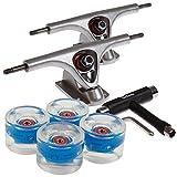 FunTomia 2 Stück Longboard Achsen + 1 Stück T-Tool + 4 Stück LED Longboard/Skateboard Rollen 80A inkl. Mach1 ABEC-11 Kugellager und Spacer