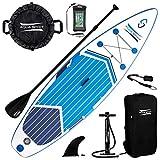 Aqua Spirit Aufblasbares Stand Up Paddel Board Set Mit verstellbarem Paddle, Tragetasche und Sicherungsleine, Blau, 3m x 0,8m x 0,125m