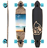 BIKESTAR Premium Canadian Maple Drop Through Flush Cut Pro Longboard Skateboard für Kinder und Erwachsene auch Anfänger ab ca. 12 - 14 Jahre  75mm Downhill/Freeride/Race Edition  Sunset At The Beach Design