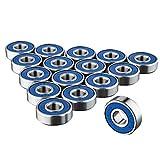 Trixes 16 x reibungsfreie Kugellager ABEC 9 für Skateboard, Roller, Inline Skates