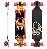 BIKESTAR Premium Canadian Maple Drop Down Flush Cut Pro Longboard Skateboard für Kinder und Erwachsene auch Anfänger ab ca. 10 - 12 Jahre  75mm Freeride/Long Distance Pushing Edition  Fire Skull Beats Design