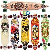 [Maronad.GCP] Longboard Skateboard drop through Race Cruiser ABEC-11 Skateboard 104x24cm Streetsurfer skaten INDIAN LED Leuchtrollen