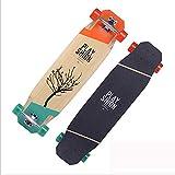 HOTDESIRE Standard Skateboards Cruiser, Longboard Doppel Kick-Skate-Brett Cruiser mit 99X24cm ABEC 9 37 Zoll, Brush Street langes Brett für Kinder/Jungen/Mädchen/Jugendliche/Erwachsene,Orange