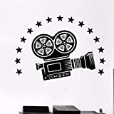 Vinyl Wandtattoo Videokamera Wandkunst Wand Kino Film Raumdekoration Film Stil Vinyl Wandaufkleber Film Kamera Aufkleber 57x41CM