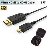 Slim Micro HDMI Kabel,Ultra Dünn&Flexibel Mikro HDMI auf HDMI Kabel 1M für GoPro Hero 7,Canon Kamera,Gimbal,Stabilizer,Dünnste Schlanke Micro HDMI Cable,Unterstützt 4K@60Hz,UHD,3D,Ethernet,ARC