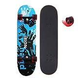 EnjoyFit Skateboard für Kinder Jungendliche und Erwachsene, Komplettboard mit Transparent Leuchtrollen inkl. Alu Truck und ABEC - 7 Kugellager 80 x 20 cm, Belastbarkeit 150 kg (Eisen Hand)