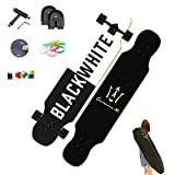 WRISCG Longboard Skateboard Cruiser 107×25cm Komplettboard, 8 Schichten Ahorn Board, High Speed ABEC Kugellagern, Drop-Through Freeride Skaten Cruiser Boards, für Anfänger Erwachsene Teen,C