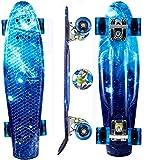 Oppikle 22' 55cm Mini Cruiser Skateboard Retro Komplettboard mit LED LeucCruiser-Board mit LED Leuchtrollen für Erwachsene Kinder Jungen Mädchen (Blauer Sternenhimmel)