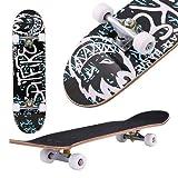 fiugsed Skateboard Komplettboard Mit ABEC-9 Kugellager Und 9-Lagigem Ahornholz 95A Rollenhärte Funboard FÜR Anfänger Und Profis - Belastung 100 KG (Grau)