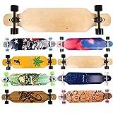 FunTomia Longboard Skateboard Drop Through Cruiser Komplettboard mit Mach1 ABEC-11 High Speed Kugellager T-Tool mit und ohne LED Rollen Flex 1
