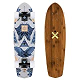 Fireball x Arbor Longboard Cruiser Downhill Skateboards – Verschiedene Modelle – Deck & Completes, Pocket Rocket - Bamboo (69 cm) Griptape - Schwarz, Complete