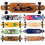 FunTomia Twin Tip Longboard Skateboard Drop Through Cruiser Komplettboard mit Mach1 High Speed Kugellager T-Tool