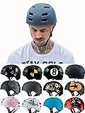 Skullcap BMX Helm - Skaterhelm - Fahrradhelm - Herren Damen Jungs & Kinderhelm, grau-schwarz, Gr. L (58 – 61 cm), Design: Crack