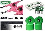 Unbekannt Longboard Achsen Set Basic | Amok Trucks 7' 180mm | Amphetamine ABEC 7 Kugellager | 76mm Wheels | inkl Hardware & Griptape (pink)