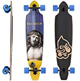 BIKESTAR Canadian Maple Drop Through Flush Cut Pro Longboard Skateboard für Kinder, Erwachsene, Anfänger ab 12-14 Jahre | 75mm Downhill/Freeride/Race Edition | Pax Tecum Design