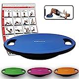 POWRX Balance Board inkl. Workout I Wackelbrett Ø 40cm mit Griffen I Therapiekreisel für propriozeptives Training und Physiotherapie Royal Blue